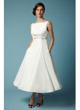 Boat Neck Vintage High Waist Line Wedding Dress
