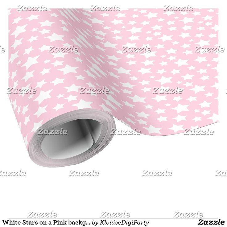 White Stars on a Pink background Wrapping Paper