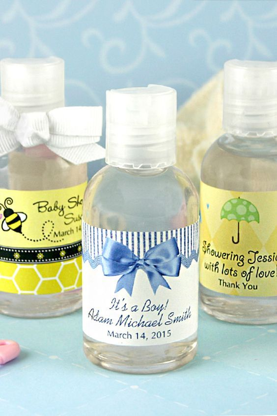 Share your joy and not your germs with personalized hand sanitizers as baby shower favors. Handy, functional, and cute. Your friends and family will no doubt use these little souvenirs over and over again after your party. 28 Design Options. These favors can be ordered here http://www.tippytoad.com/personalized-baby-shower-hand-sanitizers.asp