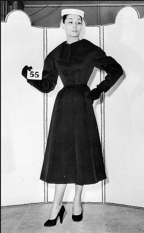 1952 Balenciaga house model in redingote of black silk twill, Summer