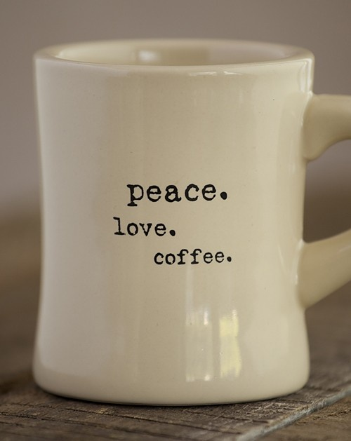 Cream Ceramic Diner Mug With Peace Love Coffee Dishwasher And Microwave Safe H X 3 Diameter