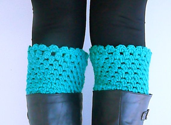 Emerald crochet leg warmers crochet boot tops by HandmadeTrend