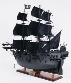 Black Pearl Wooden Pirate Ship Model
