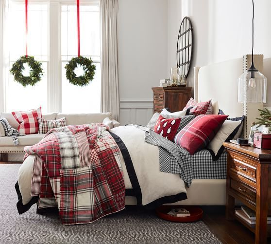 Gorgeous plaid blocks, greys, whites. I love all the textures. Sweet Christmas look for the holidays. Warm and inviting #holiday #bedding #quilts #sheets #homedecor #bedroom #ad