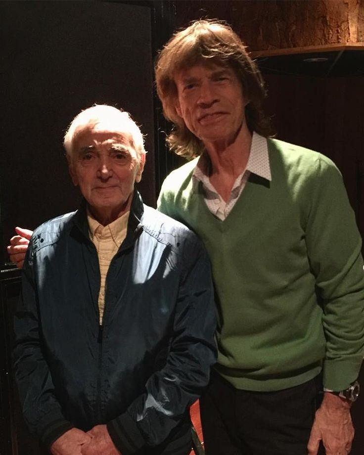 Mick Jagger and Charles Aznavour in Paris 'Séance de travail avec Mick Jagger' - 10.02.2017 Photo © Marc Di Domenico