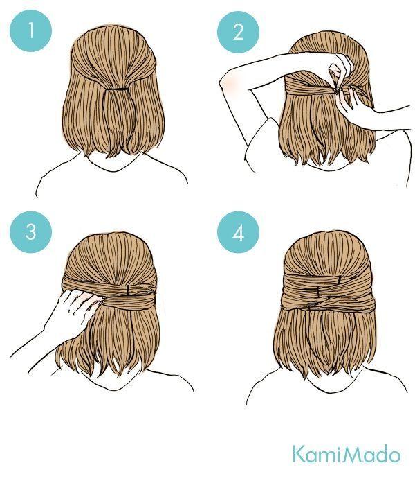 cabelo médio meio solto - http://passaneura.com/cabelos/50-penteados-para-fazer-sozinha/