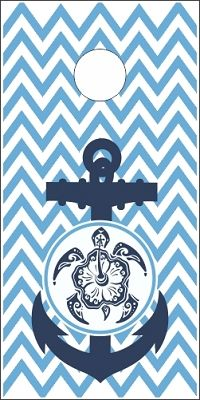 Chevron With Anchor and Beach Turtle Cornhole Wrap