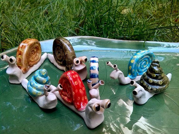 Csigák / Snails  www.mesekeramia.hu  #mesekerámia #kertidísz #csigák #snail #fairygarden