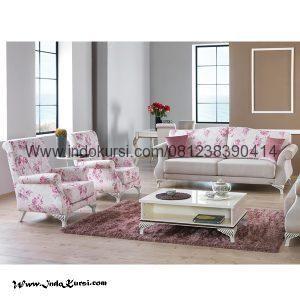 Set Kursi Sofa Ruang Tamu Motif Pink