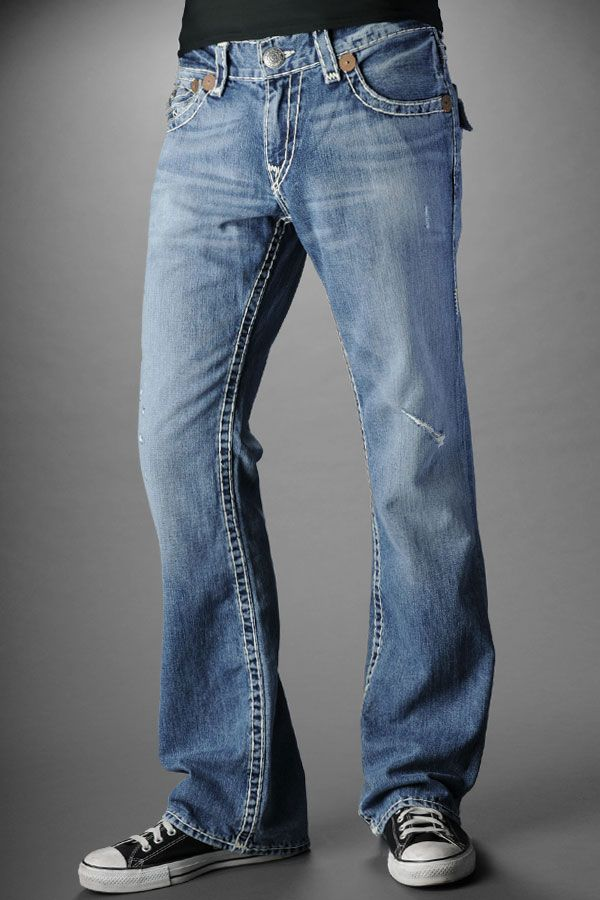 True Religion Jeans Men's Billy Super T Medium Drifter with Rips. Sunday.