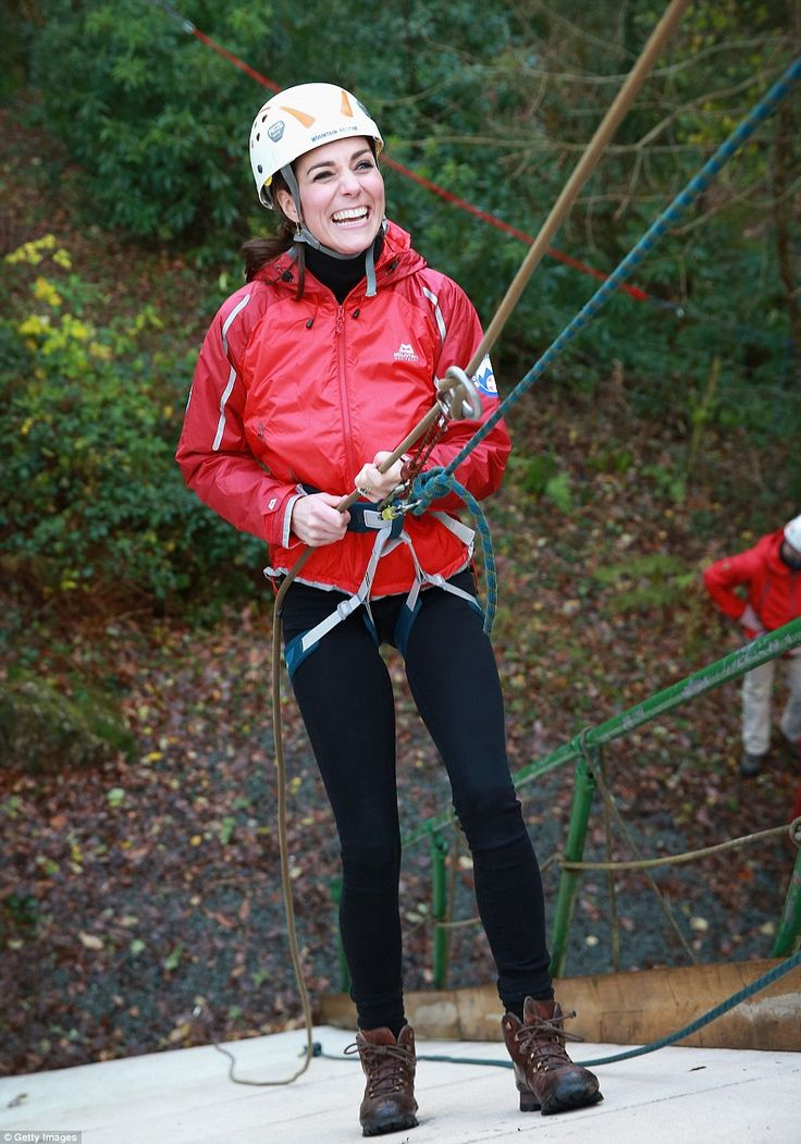 With a big smile on her face, the mother-of-two proved she isn't afraid of heights as she ...