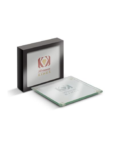 High quality, machine-cut set of 4 glass coasters in a smart gift box. Can be pad printed or laser engraved.