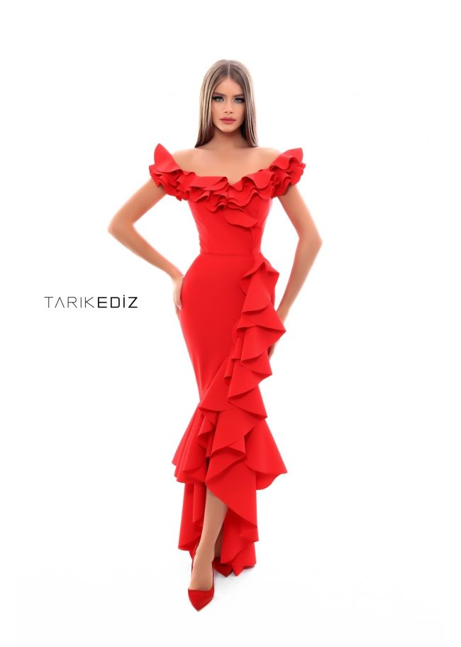 44e1e489df Tarik Ediz- Prom 2018 Collection Style  50350 Red Off-Shoulder Ruffled  Mermaid-Cut Prom Gown. Also available in Black