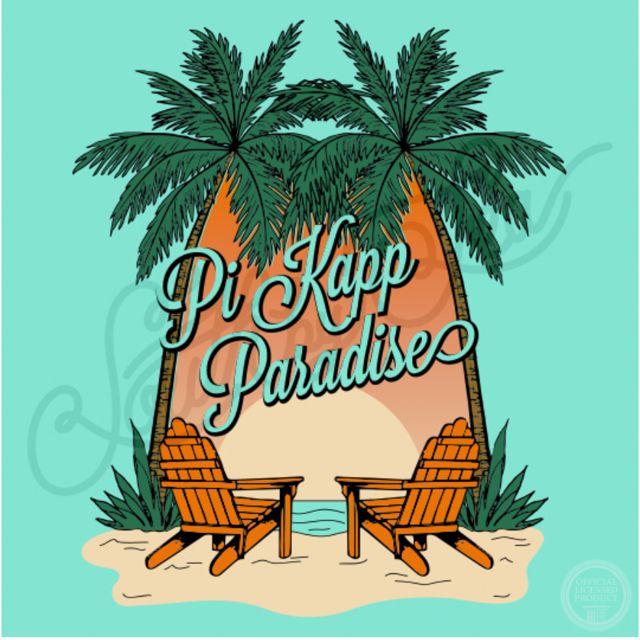 Pi Kapp Paradise | Pi Kappa Phi | Beach T-Shirt Design | Spring Break | Summer Vacation | Tropical | Luau | Palm Trees | South by Sea | Greek Tee Shirts | Greek Tank Tops | Custom Apparel Design | Custom Greek Apparel | Sorority Tee Shirts | Sorority Tanks | Sorority Shirt Designs