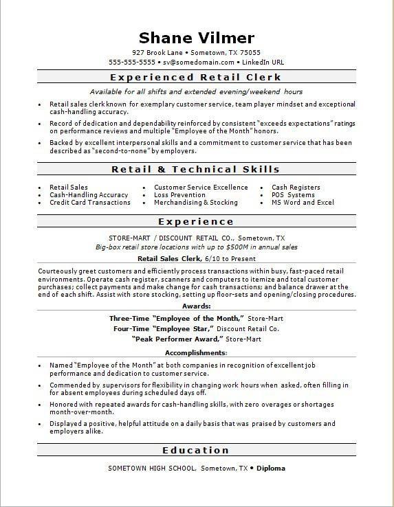 sample resume for a retail sales clerk  retail resume