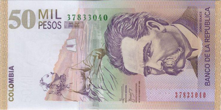 Jorge Isaacs 50,000 pesos colombianos