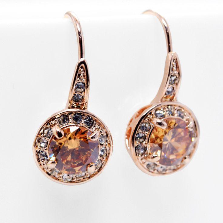 Earrings - 18K Gold Plated, Austrian Crystal