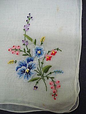 embroidery petitpoint   Antique Hanky Petit Point Embroidery (antique /Vintage Embroidered ...