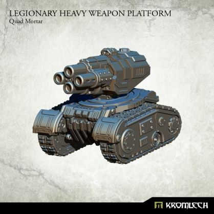 This set contains one resin Legionary Heavy Weapon Platform armed with Quad Mortar. Designed to fit futuristic 28mm heroic scale vehicles. This model is approximately 53mm long, 44mm wide and 45mm height.