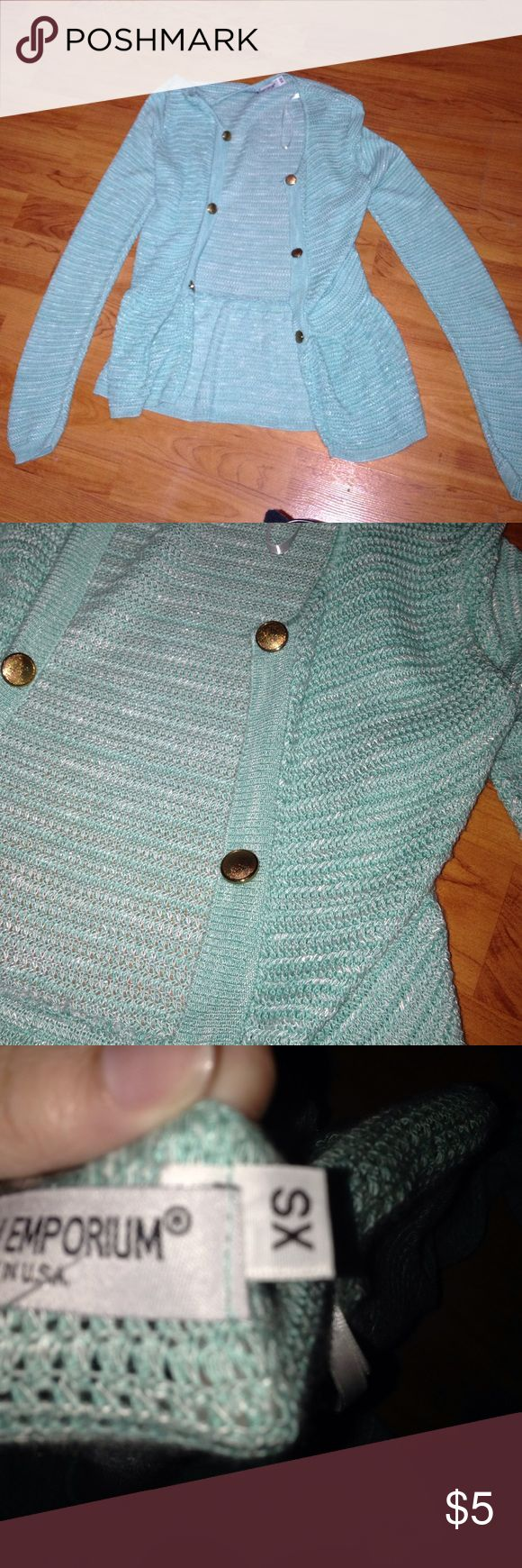 Turquoise cardigan Turquoise cardigan with golden buttons. Very fitting and only worn once Tops