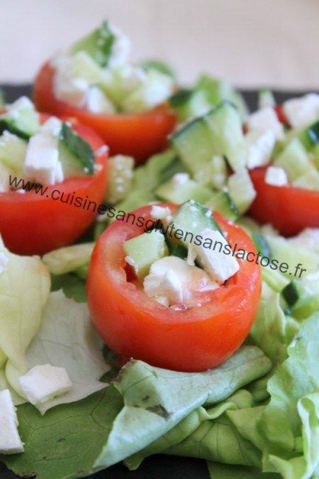 Salade Crétoise détournée, tomates farcies de Lucile – Cuisine sans gluten & sans lactose http://cuisinesansglutensanslactose.fr/salade-cretoise-detournee/