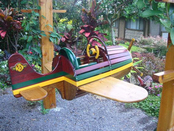 Handmade childrens airplane swings by Rexwingflyer on Etsy, $2495.00