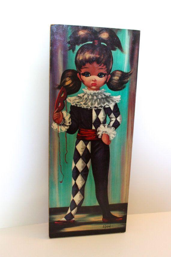 Vintage 1960s Jester Girl Big Eyes Eden Art 1960s Mom