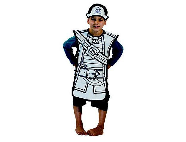 Kostuum piraat *** Dit piratenkostuum om zelf in te kleuren is gemaakt van 100% katoen en bedoeld voor kinderen van drie tot acht jaar (one size). Er zit ook een piratencap bij. Wordt geleverd in mooie kartonnen verpakking inclusief 4 textielstiften. Just colour it, wear it and play!!