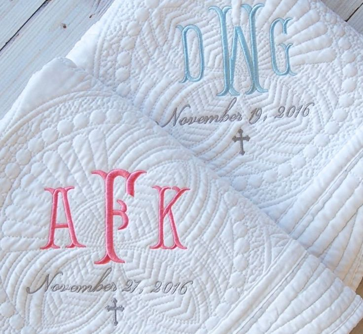 Custom Baptism Gift - New Baby Quilt with Monogram
