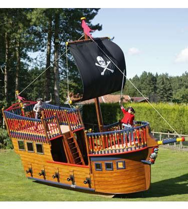 Backyard toys childrens large pirate ship play centre - Wooden pirate ship outdoor ...