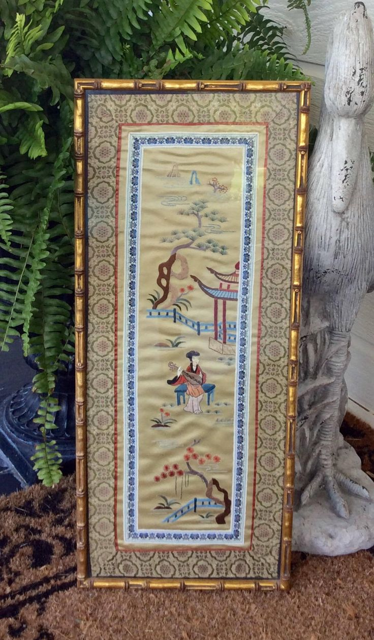 Vintage Chinese Embroidered Silk In Gold Bamboo Frame, Pagoda, Chinoiserie, Framed Asian Artwork, Hollywood Regency, Mid Century by YellowHouseDecor on Etsy https://www.etsy.com/listing/531323536/vintage-chinese-embroidered-silk-in-gold