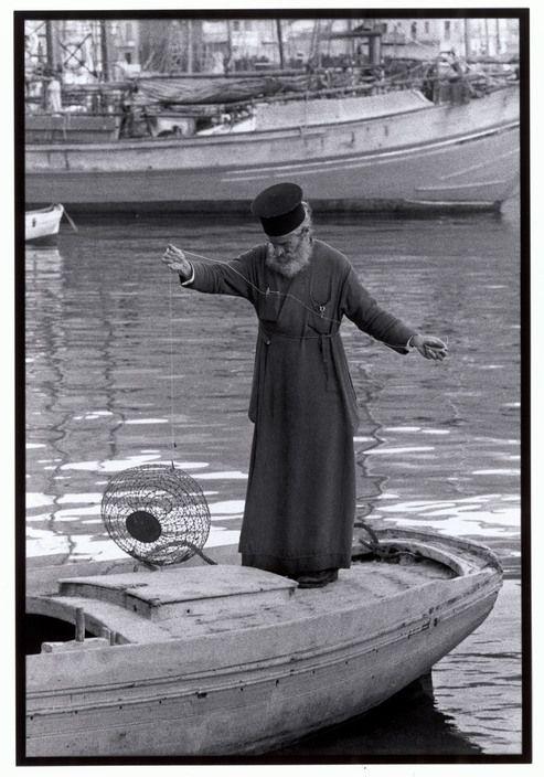 """Constantine Manos View profile Greece. Kalymnos. 1964. Priest with a fish trap. """"A Greek Portfolio"""" p.36 © Costa Manos/Magnum Photos"""
