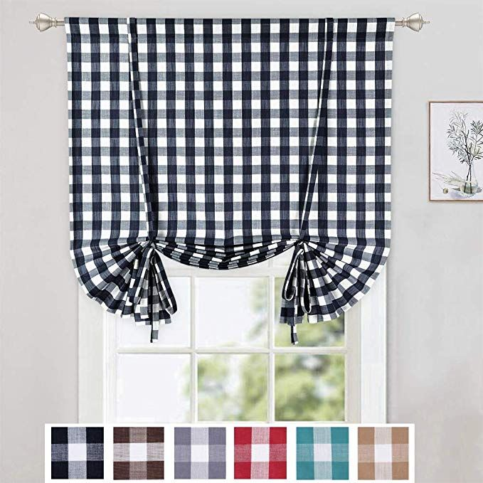 Amazon Com Caromio Tie Up Curtains For Windows Buffalo Check Plaid Gingham Pattern Rod Pocket Adjustable Tie Up S Tie Up Shades Cafe Curtains Tie Up Curtains