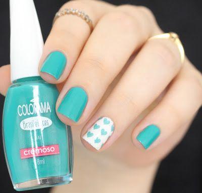 Esmalte UAI da Colorama e Película Esmalte Bonito. By @morganapzk Green. Nail Art. Nail Design. Nail Polish. Nails. Verde. Unhas. Coração. Heart. Cute. Pretty. Unhas fofas.
