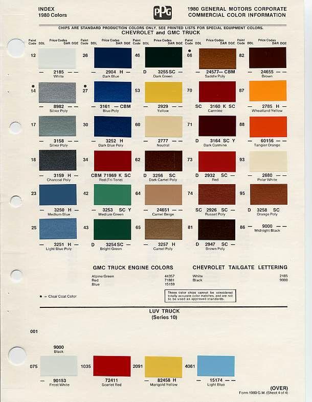 auto paint codes | Color chips & Paint codes GM - | Auto ...