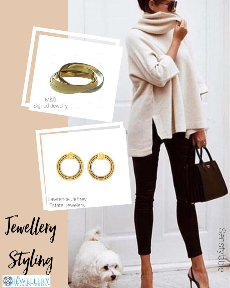 Casual and chic, black skinny jeans and cream oversized turtleneck by @senstylable accented by some Cartier jewellery. A gorgeous Trinity 3 row bangle in 3 golds by M&G Signed Jewelry and Cartier earrings again with 3 golds from Lawrence Jeffrey Estate Jewelers. Available on 1st Dibs.com