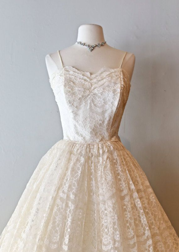 Vintage 1950's Tea Length Lace Wedding Dress ~ Vintage 50s Wedding Dress With Full Skirt Sweetheart Neckline