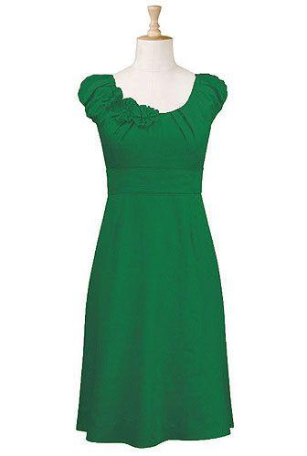 Rosette trim dress in jade green.: Summer Dresses, Favorit Color, Fashion Dresses, Cute Dresses, Bridesmaid Dresses, Cute Modest Women Dresses, Trim Dresses, Cute Clothing, Green Dresses