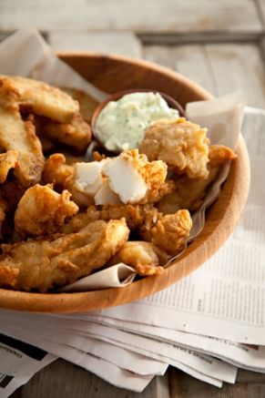 The Deen Bros The Deen Bros. Lighter Beer Battered Fish and Chips  Nutritional Information:  (2 pieces of fish and 4 potato wedges): 306 Cal; 25 g Protein; 8 g Tot Fat; 1 g Sat Fat; 4 g Mono Fat; 32 g Carb; 2 g Fiber; 1 g Sugar; 36 mg Calcium; 2 mg Iron; 674 mg Sodium; 49 mg Cholesterol