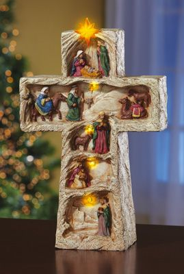 Lighted Christmas Religious Nativity Cross Decoration
