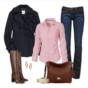 С чем носить коричневые сапоги: синие джинсы и розовая рубашка