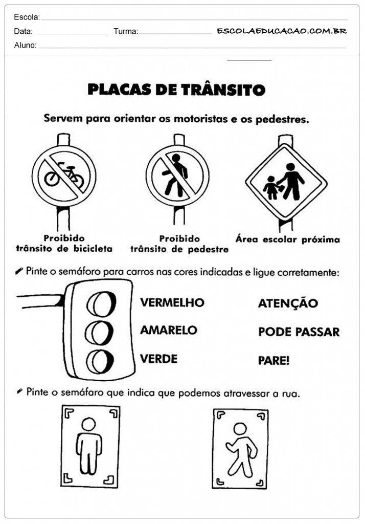 Atividades Sobre O Transito Placas De Transito Atividades Para