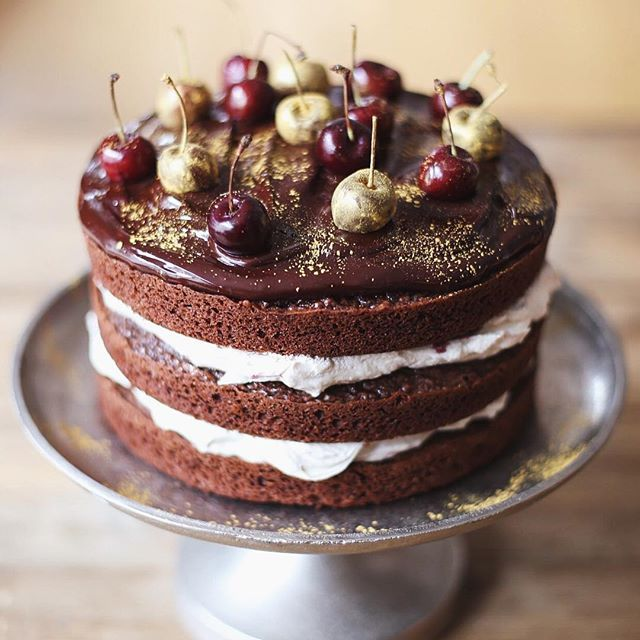 Birthday cake for the fabulous @mgueni a retro classic, a Black Forest Gateau with gold covered cherries. Nothing like a bit of edible gold.