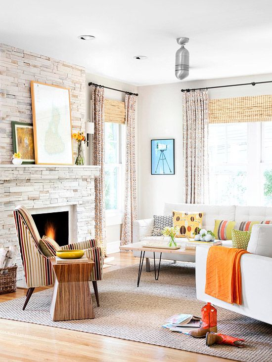 Colorful living roomStones Fireplaces, Curtains, Living Rooms, Colors, Livingroom, Fireplaces Ideas, Families Room, Stone Fireplaces, Windows Treatments