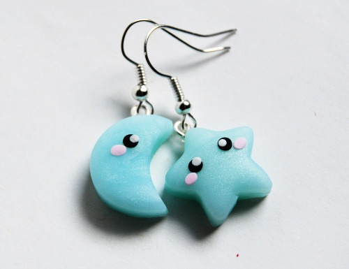 Polymer Clay Star & Moon Earrings - Aretes estrella y luna en arcilla polimérica