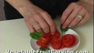 Vegetable Carving Made Easy - Tomato Rose Garnish 2 - Nita's Fruit & Vegetable Carving, via YouTube.