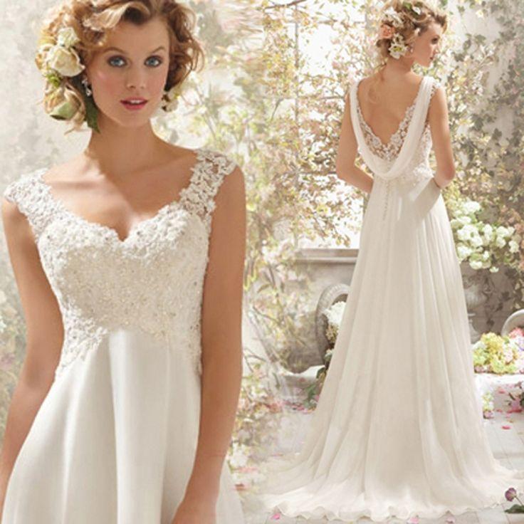 2016 Vestido De Noiva A-Line Wedding Dresses For Pregnant Bride V-Neck Chiffon Floor-Length Custom Bridal Gown Free Shipping