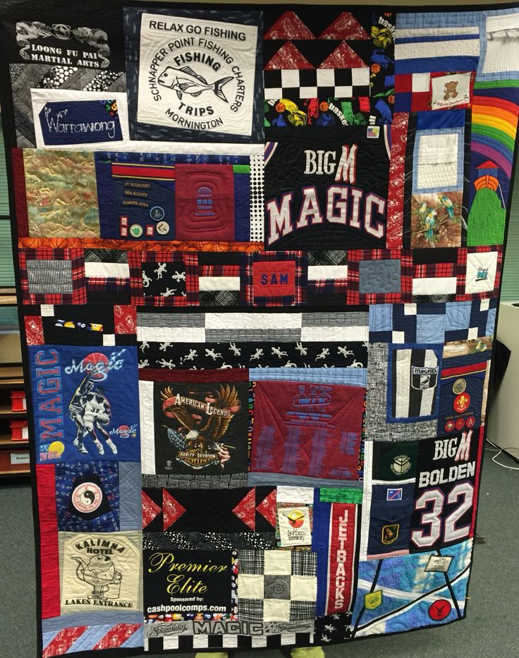 """""""Sam's Quilt""""  Made from clothes saved by his Mum over the years. Hope he likes it and can prise it away from his Mum...  And quilted myself.. Woohoo"""
