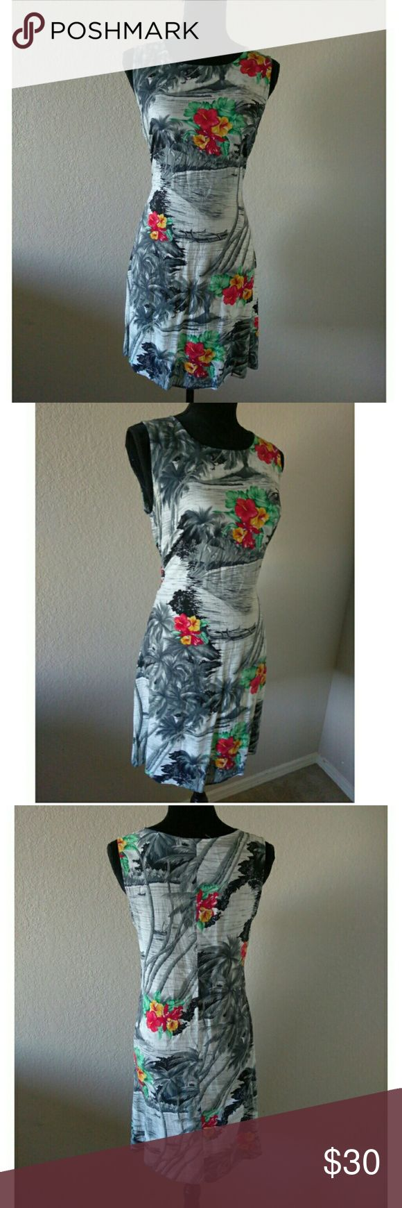 Vintage Hawaiian Theme Dress Gorgeous and comfortably sheer vintage Hawaiian dress. Brand is called Notation Clothing. There is no fabric/ size tag. I am going to guess a M/L. Approx measurements are chest 17 in. length 34 in. Good condition for vintage. Vintage Dresses