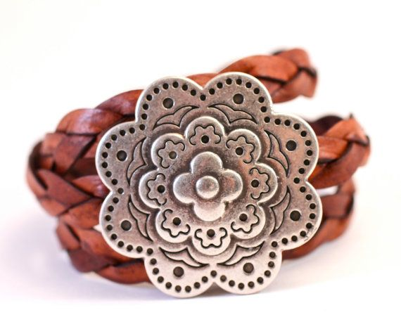 Large Silver Bracelet Flower Medallion Leather Wrap Bracelet Gift For Mom Her Amy Fine Design